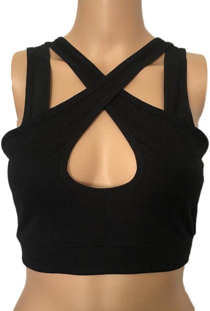 MRULIC Damen Unterhemd BH-Hemd, Disbest Sport Vest BH Tops ärmellos Unterhemd mit doppelte V-Ausschnitt Schwarz