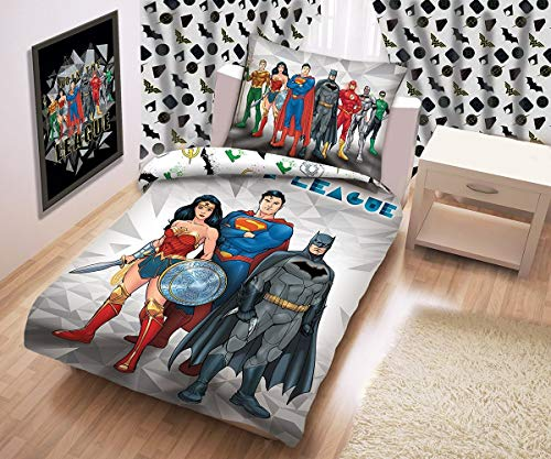 Justice League Gerechtigkeitsliga Linge de Lit Parure de Lit Enfant 140x200 cm ( Oeko Tex Standard 100) Superman Batman Wonder Woman