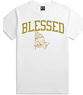 Men's White Gold Praying Hands T Shirt Blessed XXX Rap Migo Gang