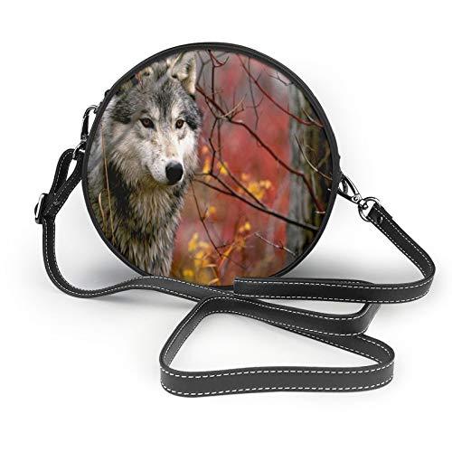 Bolso de hombro redondo con diseño de lobo de camuflaje en otoño para mujer