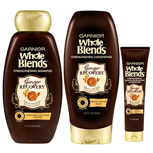 Garnier Hair Care Whole Blends Ginger Recovery Strengthening Hair Care with Shampoo, Conditioner, and Leave In Treatment, For Weak, Brittle Hair, Paraben Free 1 Kit