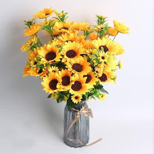 3 Stücke von 13 Köpfen der Sonnenblumen gefälschten Blumenhand. Simulation von Sonnenblumen für HochzeitsbridParty. HausDekoration