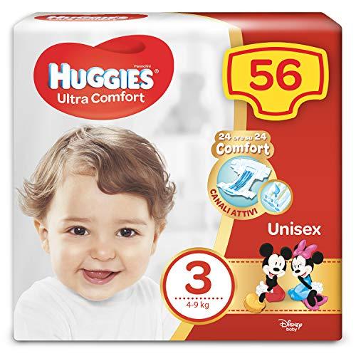 Huggies Huggies - Pañales ultra cómodos, talla 3 (4-9 kg), paquete de 56 pañales – 1550
