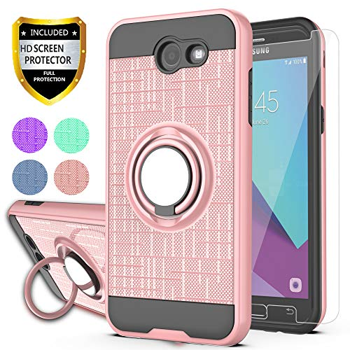 YmhxcY Galaxy J3 Emerge/J3 Eclipse/J3 Prime/J3 Mission/Luna Pro/Sol 2/Express Prime 2 Case with HD Screen Protector, 360 Degree Rotating Ring & Bracket Back Cover for Samsung J3 2017-ZH Rose Gold