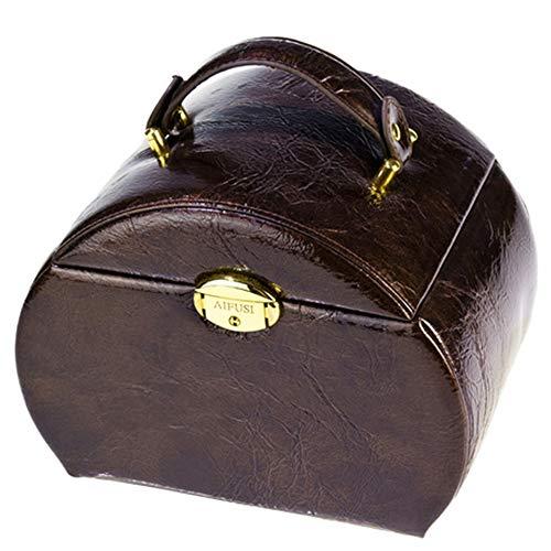 Preisvergleich Produktbild Kosmetiktäschchen Schminktasche Damen Schmuckschatulle Schmuckschatulle geschenkbox kosmetiketui schmuckschatulle halbrund Damen tragbare Leder aufbewahrungsbox 25 cm * 17 cm * 22, 5 cm,  braun