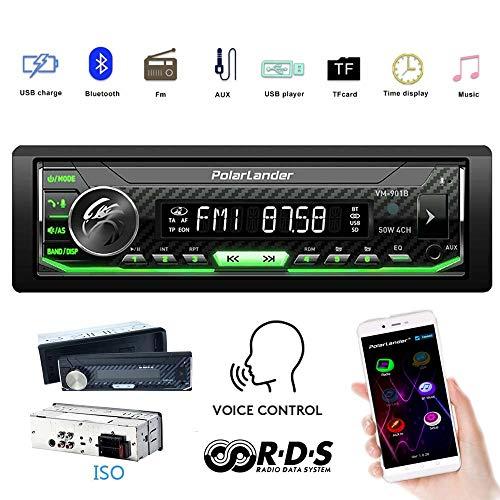 Auto Radio, Autoradio Bluetooth, Audio Multimedia Auto Estéreo Control de Voz Panel Frontal Desmontable Bluetooth, RDS, MP3, USB, AUX, Am FM, Retroiluminación a Todo Color, Control Completo de la App