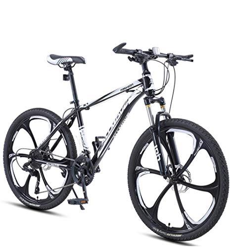 DGAGD Bicicleta de montaña de 24 Pulgadas para Hombres y Mujeres, para Adultos, Velocidad Variable, Carreras, Bicicleta Ultraligera, Diez Ruedas de Corte-En Blanco y Negro_21 velocidades