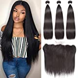 Brazilian Lace Frontal Closure with 3 Bundles Straight Virgin Hair Weave 13x4 Ear to Ear Frontal Lace Closure with Baby Hair 8A Unprocessed Human Hair Extension (24 24 24+20Frontal)