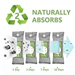 12 pack bamboo charcoal air purifying bag, activated charcoal bags odor absorber, moisture absorber, natural car air… 17 effectively odor absorber: our activated bamboo charcoal carbon adsorption capacity is three times than ordinary carbon, as we added a secondary high-temperature activation process , makes bamboo charcoal bags havehighspecificsurface areaandactivity to quickly eliminate the odor and excess moisture. Charcoal odor eliminator truly absorb bad odors naturally not covering the odor with additives works fast by more charcoal air purifying bag: according to the degree of smell, the amount of air freshener bags can be appropriately increased to speed up the adsorption rate and quickly eliminate odor and smoke. For example, the adsorption rate of 200 grams activated bamboo charcoal is four times faster than 50 grams. We have different packs of air purifying bags to meet all your needs for purifying multi size fit all space: we have three sizes of nature fresh air purifier bags can conveniently put in the place where the odor is and comprehensively remove the odor problem in your life. Perfect as shoe odor eliminator, car air purifier and basement odor eliminator. Meanwhile, the air purifying bag stop odor and damp by absorbing excess moisture, convenient natural odor eliminator for daily use to maintain a fresh environment