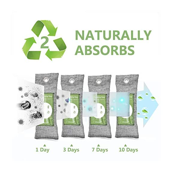 12 pack bamboo charcoal air purifying bag, activated charcoal bags odor absorber, moisture absorber, natural car air… 8 effectively odor absorber: our activated bamboo charcoal carbon adsorption capacity is three times than ordinary carbon, as we added a secondary high-temperature activation process , makes bamboo charcoal bags havehighspecificsurface areaandactivity to quickly eliminate the odor and excess moisture. Charcoal odor eliminator truly absorb bad odors naturally not covering the odor with additives works fast by more charcoal air purifying bag: according to the degree of smell, the amount of air freshener bags can be appropriately increased to speed up the adsorption rate and quickly eliminate odor and smoke. For example, the adsorption rate of 200 grams activated bamboo charcoal is four times faster than 50 grams. We have different packs of air purifying bags to meet all your needs for purifying multi size fit all space: we have three sizes of nature fresh air purifier bags can conveniently put in the place where the odor is and comprehensively remove the odor problem in your life. Perfect as shoe odor eliminator, car air purifier and basement odor eliminator. Meanwhile, the air purifying bag stop odor and damp by absorbing excess moisture, convenient natural odor eliminator for daily use to maintain a fresh environment