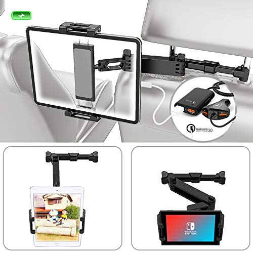 Headrest Tablet Holder, SOYUKI Car Headrest Mount Holder 360°Rotate with Stretchable Arms, 4-Port USB Car Charger for Front & Back Seat Compatible with 4.5'-13.5' Pad/Tablet/Smartphone/Switch