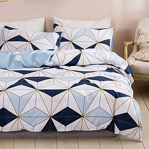 Dencalleus Brushed Bedding Sets Microfibre Soft Geometric Duvet Cover Set, King Size, Hotel Quality Quilt Covers with Pillowcases and Easy Care, Blue