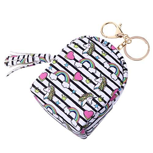 SOIMISS Cartoon Mini Coin Purse PU Unicorn Outdoor Earphone Cable Storage Wallets for Women Girls Kids DIY Backpack Pendant Stripe