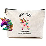 Aunt Gifts from Niece Nephew, Aunt Gifts- Aunticorn Like a Normal Aunt, But Way More Awesome- Aunt Gifts Funny Makeup Bag Christmas Birthday Gifts for Aunt and Niece Gifts Auntie Makeup Bag