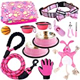 teemerryca Pink 12pcs New Puppy Starter Kit for Girls Small Dogs /Dog Collar /Leash /Soft Blanket/ Feeding Bowls/Squeak Toys/ Grooming Glove /All The Basics for a Pet Addition to Your Home