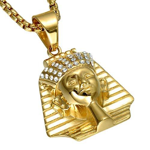 N/X Europäische und amerikanische goldene Edelstahl alte ägyptische Pharao Anhänger Halskette