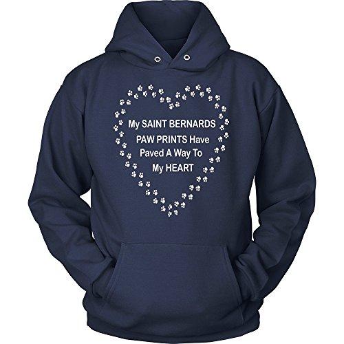 Saint Bernard Paw Prints to My Heart Hoodie Navy