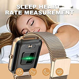 Tinwoo Smart Watch for Women Men, GPS Smartwatch, All-Day Activity Tracker Bluetooth Fitness Pedometer, for iOS, Android Phone, with Heart Rate Monitor 5ATM Waterproof (Metal Band Gold)