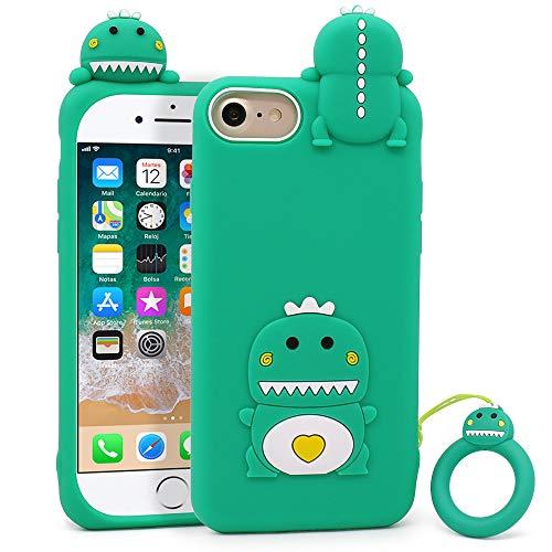 LKKJ Bonita funda para iPhone SE 2020, iPhone 6, iPhone 6s, iPhone 7, iPhone 8, divertidos animales de dinosaurios verdes, suave silicona 3D, a prueba de golpes, para niñas, niños y mujeres