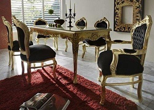 Casa Padrino Barock Esszimmer Set Schwarz/Gold - Esstisch + 6 Stühle - Möbel Antik Stil