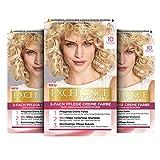L'Oréal Paris Excellence Creme Permanente Haarfarbe, 100% Grauhaarabdeckung, Haarfärbeset mit Coloration, Shampoo und 3-fach Pflegecreme, 10 Lichtblond, 3 x 268 g