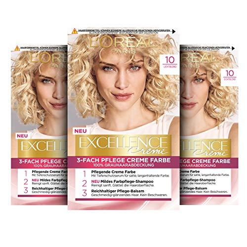 L\'Oréal Paris Excellence Creme Permanente Haarfarbe, 100{301785e55599a0320f8d65074a74e2dc5348116e3776f7b1eccecfe5429cc4b5} Grauhaarabdeckung, Haarfärbeset mit Coloration, Shampoo und 3-fach Pflegecreme, 10 Lichtblond, 3 x 268 g