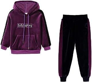 Hooyi 2 piezas de ropa para niños conjuntos de pantalones deportivos de terciopelo para niñas, sudaderas con capucha de ma...