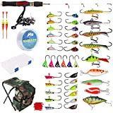 Dr.Fish 40-Pieces Ice Fishing Rod Reel Combo Complete Kits with Backpack Seat...