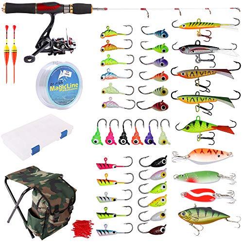 Dr.Fish - Kit completo de caña de pescar para caña de pescar de hielo, 40 piezas, con caja de asiento para mochila, caja de hielo Jig Rap Shad Cuchara Catch