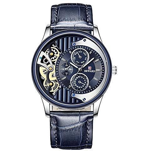 ZHUANYIYI Hombres De Negocios Casual Calendario Deportivo 30 M Reloj De Cuarzo Impermeable Personalidad Creativa Engranaje Dial Cinturón Reloj