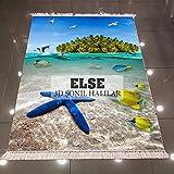 Alfombra Else Green Island Tropical Blue Sea Stars Peces con impresión 3d de microfibra antideslizante, lavable, decorativa, alfombra de área Kilim