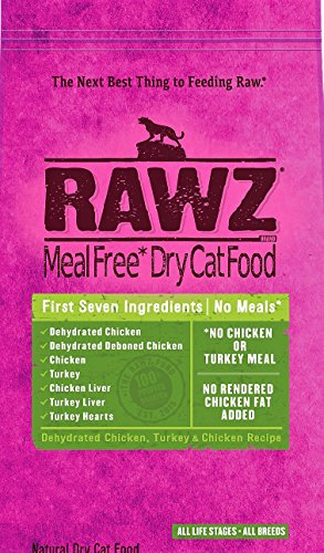 Rawz Meal Free Dehydrated Dry Cat Food, Chicken, Turkey Chicken Recipe, 7.8 lb. Bag, Fast Free Delivery, by Just Jak's Pet Market