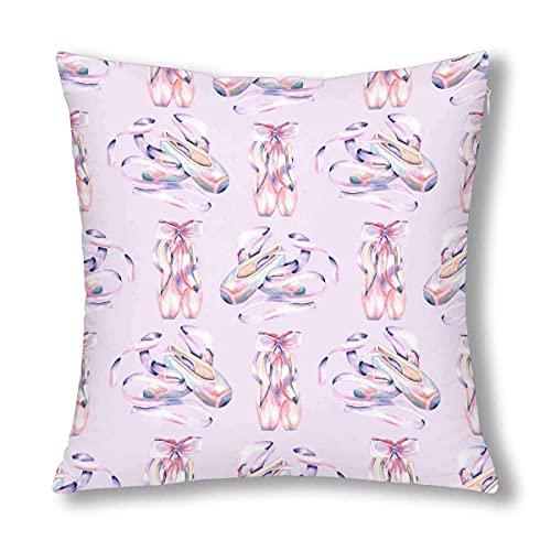 Federe per Cuscino Elegante ballerine acquerello Ballerina 's Pointe Purple Federe Cuscini Letto Copricuscini Divano Quadrati Cuscino per Soggiorno Sedia Divano 45x45cm