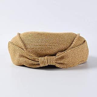 QinMei Zhou Hat female straw beret summer elegant bow straw hat Korean version of the wild painter hat 蓓 帽 hat