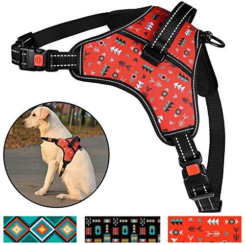 CollarDirect Tribal Hundegeschirr mit Griff, gepolstert, atmungsaktiv, verstellbar, kein Ziehen, reflektierend, für Hunde, groß, mittel, klein, Extra Large