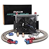 30 Row 10An Engine Universal Transmission Oil Cooler+ Filter Adapter + 7' Electric Black Fan Kit