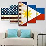 JIUH - Christmas Furniture Wall Art Decor Poster Painting On Canvas Print 5 Pieces/Pcs - Framed American Philippine Flag Poster 5 Pcs Canvas Print Wall Art Decor - for Home Decoration
