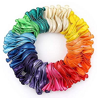 RUBFAC 120 Assorted Color Balloons 12 Inches 12 Kinds of Rainbow Party Latex Balloons, Latex Balloons for Party Decoration, Birthday Party Supplies or Arch Decoration by RUBFAC