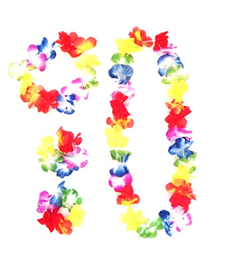 HC enterprise 16 pcs Flores Hawaiana ,Collar Pulsera Diadema para Fiesta