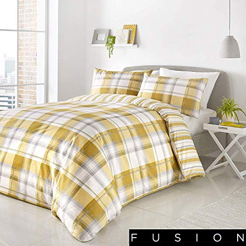 Fusion - Balmoral - Easy Care Duvet Cover Set - King Bed Size in Ochre