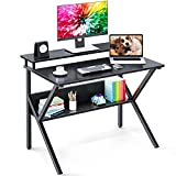 ODK Computer Small Desk 27.5' Home Office Working Kids Study Writing Desk with Monitor Storage Shelf for Small Space, Black