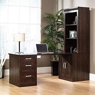 Sauder Office Port Library Desk with Hutch in Dark Alder