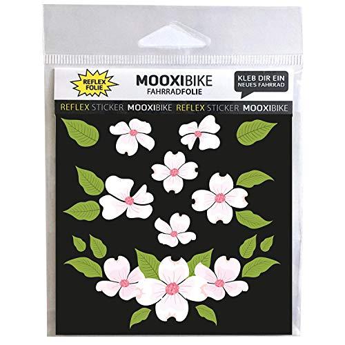 MOOXIBIKE I Sticker Set Flower Power reflektierender Aufkleber für Helm,Roller, Fahrrad zur Erhöhung der Sicherheit im Straßenverkehr