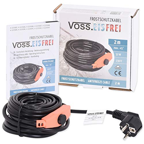 2m Frostschutz Heizkabel mit Knopf-Thermostat VOSS.eisfrei, 230V, Heizleitung Zum Schutz von Wasserleitungen und Weidetränken