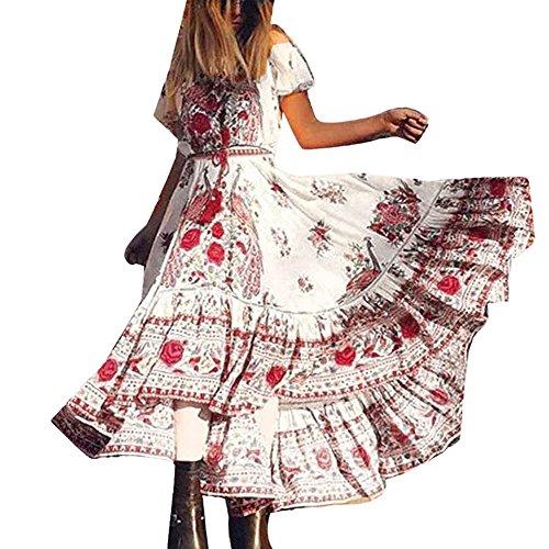 Elecenty Damen Strandkleid Chiffon Retro Bohemien,Lange Boho Sommerkleid Schulterfrei Kleid Mädchen Drucken Maxikleid Lose Kurzarm Kleider Frauen Kleidung Partykleid (XL, Rot)