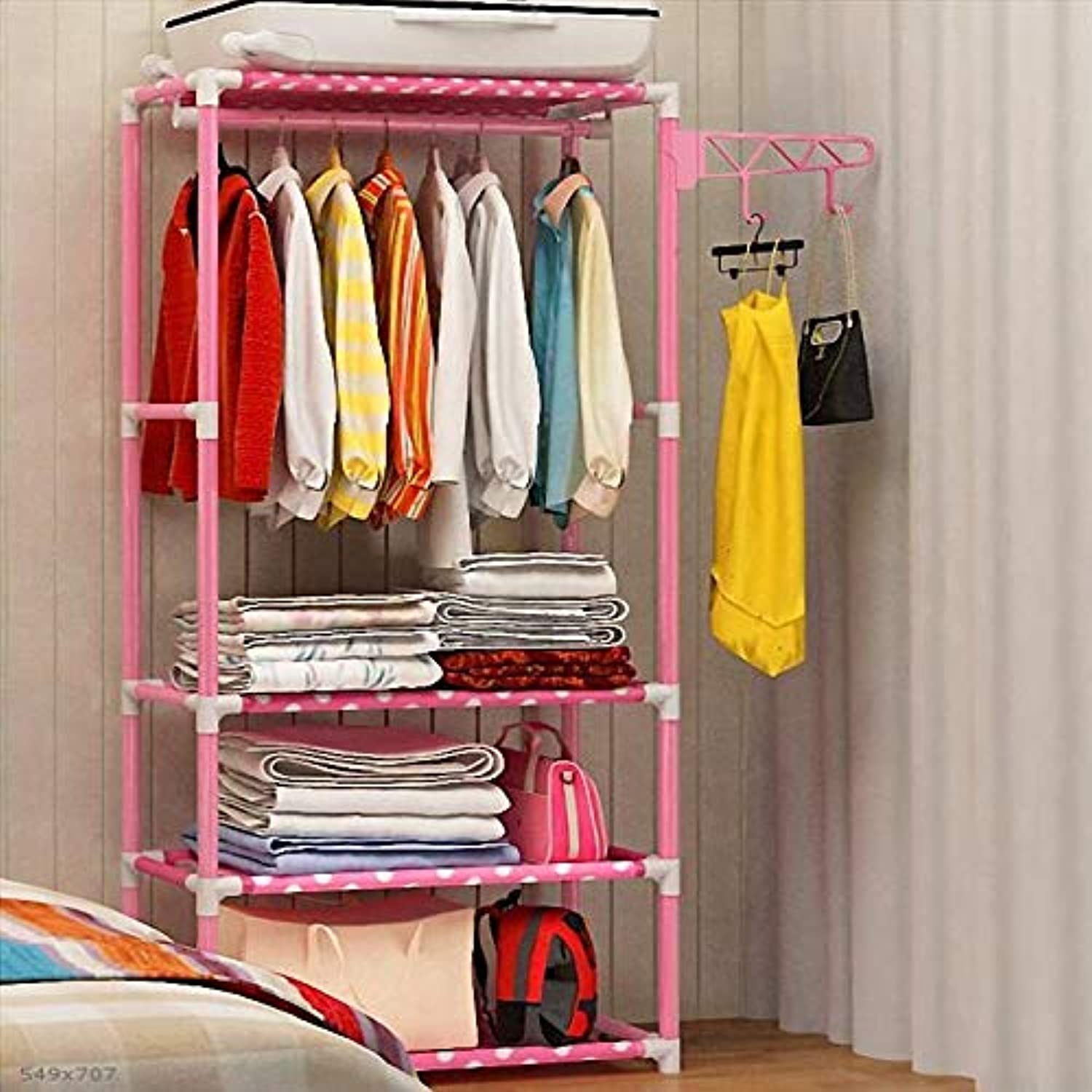 Coat Rack Wrought Iron Clothes Rack Floor Bedroom Foyer Hangers Fashion Creative Assembly Coat Rack Save Space (color   Pink, Size   35  55  175cm)