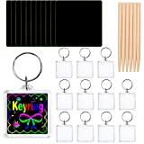 Elcoho <span class='highlight'>12</span> Pack Scratch Art <span class='highlight'>Key</span> Ring Magic Scratch Rainbow <span class='highlight'>Key</span> Chain for Party Bag Fillers and Craft Supplies