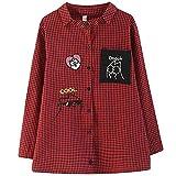 Camisa de talla grande para mujer Camisa informal Estilo Vintage Plaid Bordado de dibujos animados Mujer Mujer Blusas Las camisas se aplican al trabajo de negocios o al uso diario etc.-Red_XXXL