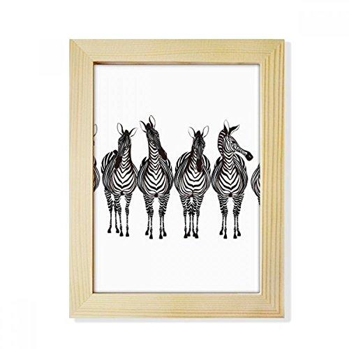 DIYthinker Verschillende actie Zebra Animal Desktop Houten fotolijst Picture Art Schilderen 6X8 Inch