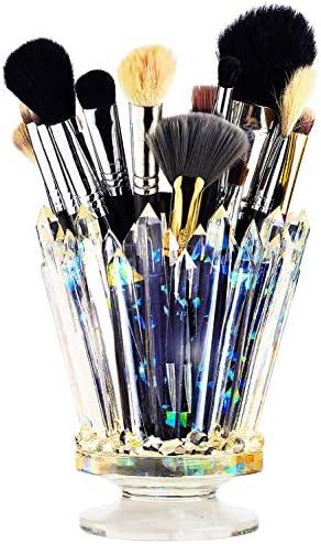 Amethyst Crystal Makeup Brush Holder Glow And Shine Brush Pen Holder Vanity Desk or Office Organizer product image